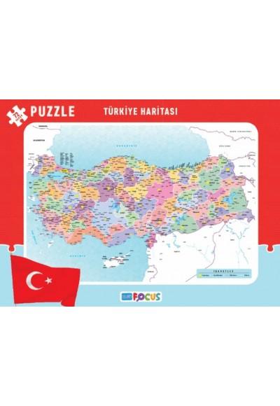 Blue Focus Türkiye Haritası - Frame Puzzle Boy 72 Parça