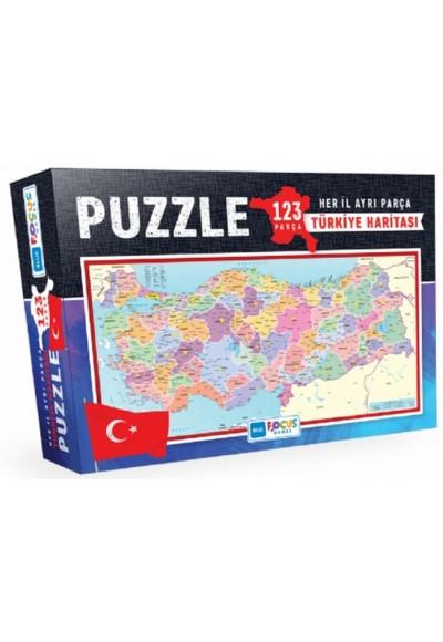 Blue Focus Türkiye Haritası Kutulu - Puzzle 123 Parça