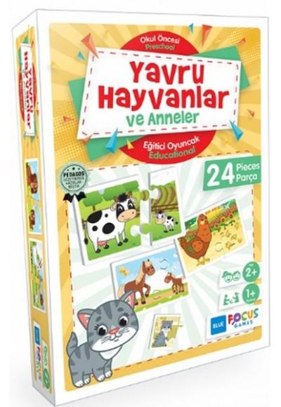 Blue Focus Yavru Hayvanlar ve Anneler - Eğitici Oyunlar 24 Parça
