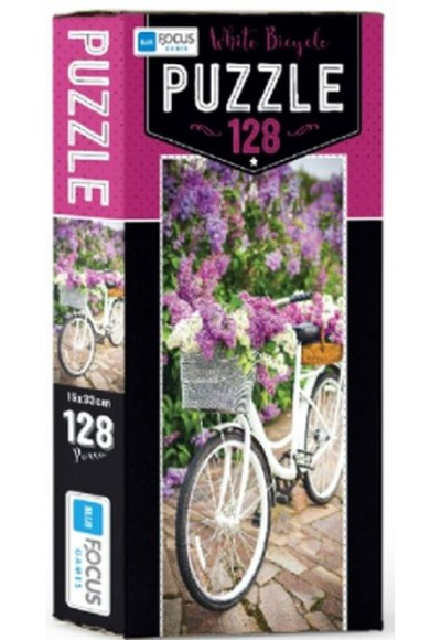 Blue Focus White Bicycle Puzzle 128 Parça