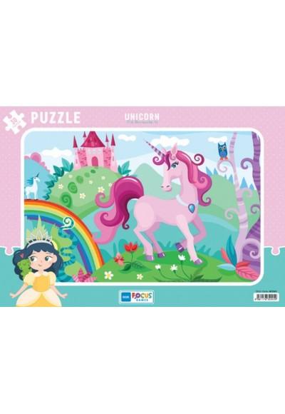 Blue Focus Unicorn (Tek Boynuzlu At) - Puzzle 30 Parça