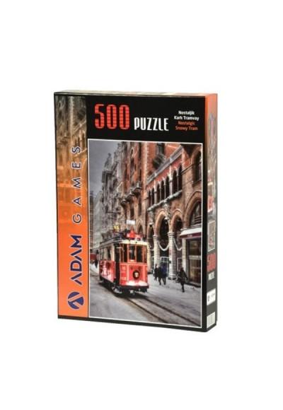 Nostaljik Karlı Tramvay 500 Parça Puzzle