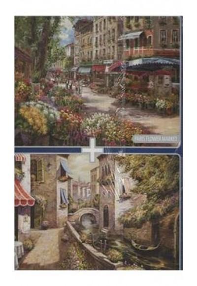 Paris Flower Market + Ponte Di Venezia / 2x1000 Parça Puzzle (40132)