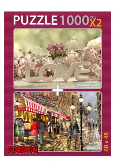 Romantic Vintage Love Evening Cafe 2x1000 Parça Puzzle 40142