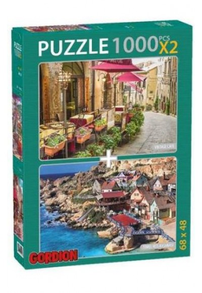 Vintage Cafe Temel Reis Kasabası 2x1000 Parça Puzzle 40144