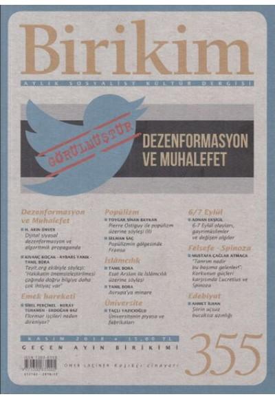 Birikim Aylık Sosyalist Kültür Dergisi Sayı 355 Kasım 2018
