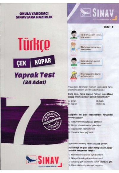 Sınav 7. Sınıf Türkçe Çek Kopar Yaprak Test Yeni