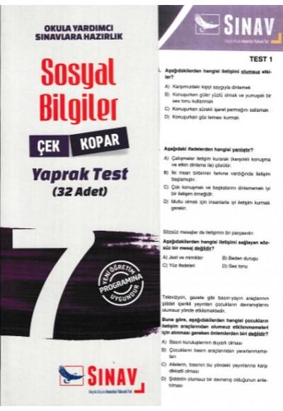 Sınav 7. Sınıf Sosyal Bilgiler Çek Kopar Yaprak Test (Yeni)