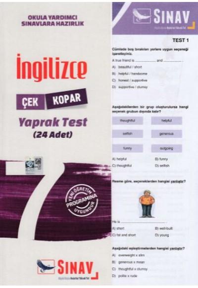 Sınav 7. Sınıf İngilizce Çek Kopar Yaprak Test (Yeni)