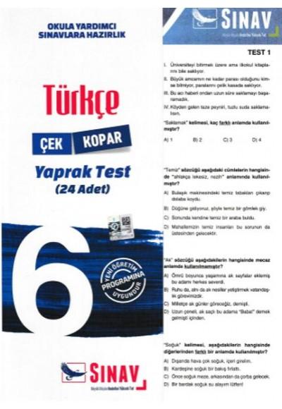 Sınav 6. Sınıf Türkçe Çek Kopar Yaprak Test Yeni