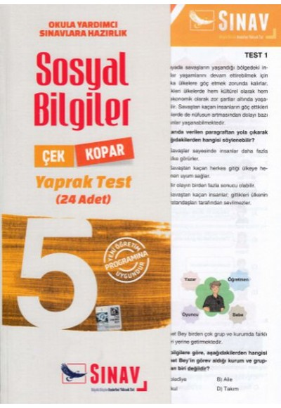 Sınav 5. Sınıf Sosyal Bilgiler Çek Kopar Yaprak Test Yeni