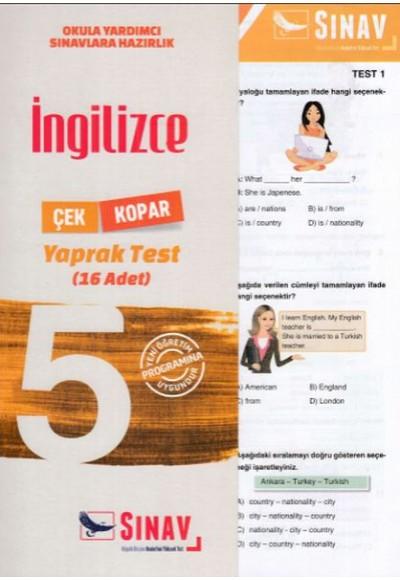 Sınav 5. Sınıf İngilizce Çek Kopar Yaprak Test Yeni