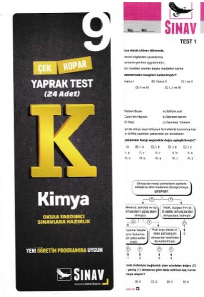 Sınav 9. Sınıf Kimya Çek Kopar Yaprak Test Yeni