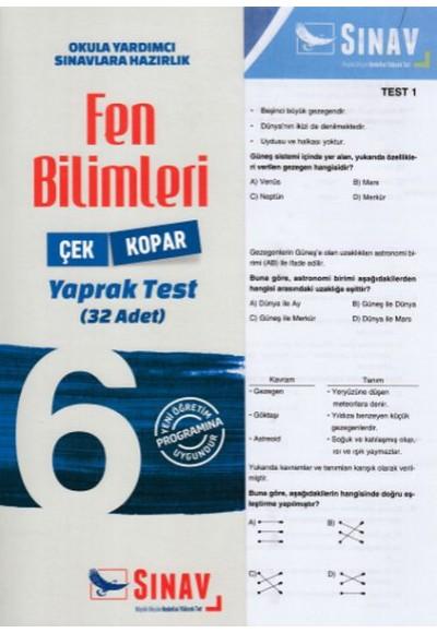 Sınav 6. Sınıf Fen Bilimleri Çek Kopar Yaprak Test Yeni