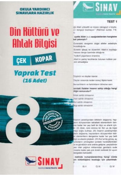 Sınav 8. Sınıf Din Kültürü ve Ahlak Bilgisi Çek Kopar Yaprak Test Yeni