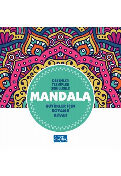 Desenler Tezhipler Şekillerle Mandala Turkuaz Kitap Büyükler İçin Boyama Kitabı