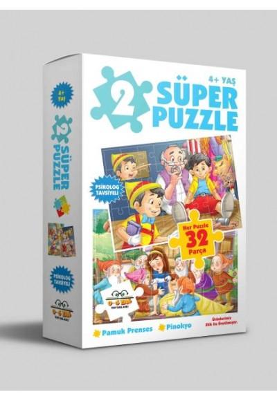 2 Süper Puzzle - Pamuk Prenses - Pinokyo 4+ Yaş
