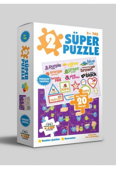 2 Süper Puzzle - Renkler - Şekiller - Kavramlar 2+ Yaş