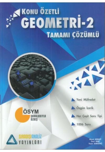 Sıradışı Analiz Geometri 2 Konu Özetli Tamamı Çözümlü Soru Bankası