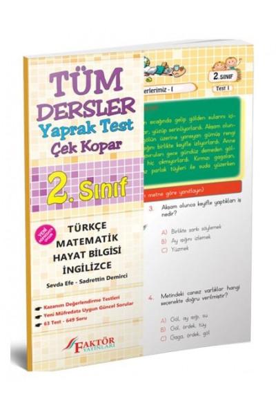 Faktör 2. Sınıf Tüm Dersler Yaprak Test Yeni