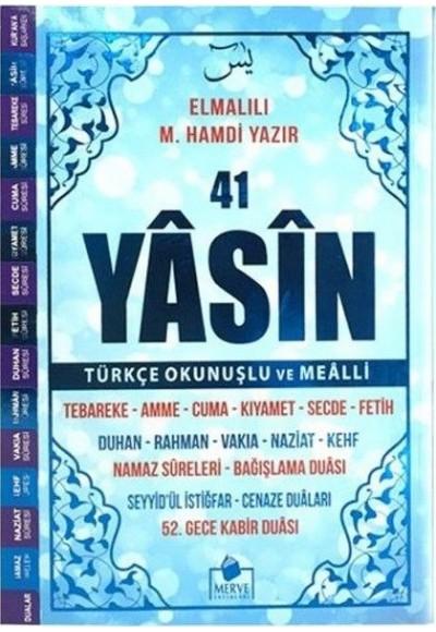 41 Yasin Türkçe Okunuşlu ve Mealli Mavi Kapak Orta Boy