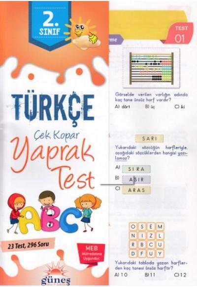 Güneş 2.Sınıf Türkçe Yaprak Test Yeni
